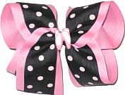 Large Black with Light Pink Dots over Pink with Ballet Sjlopper Miniature Double Layer Overlay Bow