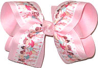 Large Ballerinas over Light Pink Double Layer Overlay Bow