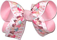 Medium Ballet Dancers Print over Light Pink Double Layer Overlay Bow
