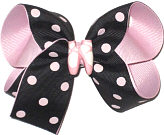 Medium Black with Light Pink Dots over Light Pink with Ballet Slipper Miniature Double Layer Overlay Bow