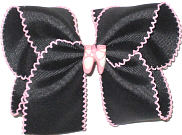 Large Black with Pink Moonstitch and Pink Ballet Slippers Miniature Double Layer Overlay Bow
