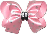 Medium Pink Satin with Silver Glitter Dots over Pink with Black Ballet Slippers Miniature Double Layer Overlay Bow