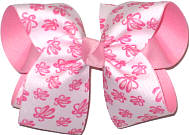 Large Pink Ballets Slippers on White over Pink Double Layer Overlay Bow