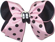 Medium Light Pink with Black Dots over Black with Ballet Slipper Miniature Double Layer Overlay Bow