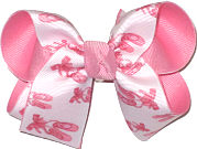 Medium Pink Ballet Slippers on White over Pink Double Layer Overlay Bow