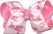 Toddler Pink Ballet Slippers on White over Pink Double Layer Overlay Bow