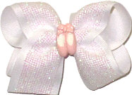 Toddler Light Pink Iridescent Glitter Mesh over White with Pink Ballet Slippers Miniature Double Layer Overlay Bow