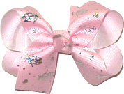 Medium Light Pink with Sliver Ballet Slippers over White Double Layer Overlay Bow
