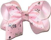 Toddler Light Pink with Sliver Ballet Slippers over White Double Layer Overlay Bow