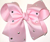 Large Light Pink Jeweled Bow