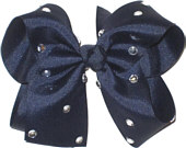 Large Navy Jeweled Bow
