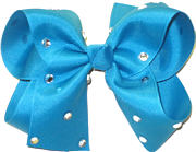 Large Turquoise Jeweled Bow