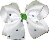Large White with Green Jewels Jeweled Bow