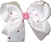 Large White with Pink Jewels Jeweled Bow