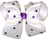 Large White with Purple Jewels Jeweled Bow