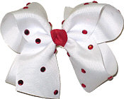Large White with Red Jewels Jeweled Bow