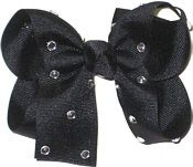 Medium Black Jeweled Bow