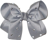 Medium Flannel Gray Jeweled Bow