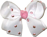 Medium White with Pink Jewels Jeweled Bow