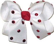 Medium White with Red Jewels Jeweled Bow