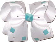 Jeweled Bow with Aqua Knot and Acrylic Stones and Swarovski Crystals