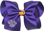 Large Crystal Paw on Regal Purple with Yellow Gold Knot Bow