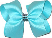 Aqua Large Bow with Colored Jewel Band