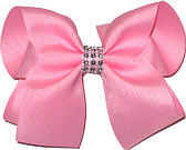 Pink Large Bow with Clear Jewel Band