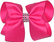 Shocking Pink Large Bow with Clear Jewel Band