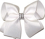 White Large Bow with Clear Jewel Band