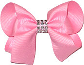 Pink Medium Bow with Clear Jewel Band