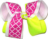 Large Shocking Pink Neon Yellow and White