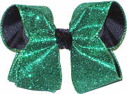 Large Emerald Green Glitter over Black Grograin with Black Glitter Knot