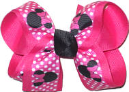 Medium Minnie Pink with White Dots over Shocking Pink Grosgrain