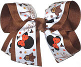 Large Harvest Time Minnie over Brown Grosgrain