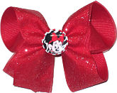 Medium Red Glitter Ribbon of Red Grosgrain with Minnie Pin
