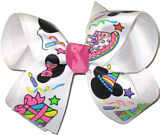 Medium Mickey and Minnie Party Ribbon over White Grosgrain with Hot Pink Knot