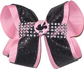 Large Minnie Mouse with Pink with Black Glitter and Rhinestones