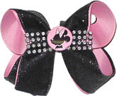 Medium Minnie Mouse with Pink with Black Glitter and Rhinestones