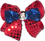 Medium Snow White with Red Sequin and Blue Glitter Ribbon