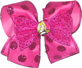 Large Sleeping Beauty with Shocking Pink Large Glitter Dot Ribbon