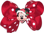 Medium Mickey Christmas Bow. Mickey on removable pin-back so bow can be used after Christmas.