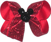 Medium Red Glitter with Black Glitter Mickey Pin