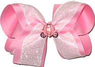 Large Pink with White Crackle Ribbon and Cinderella's Coach Miniature