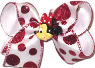 Toddler Red Glitter Dots over White with Minnie Miniature Double Layer Overlay Bow
