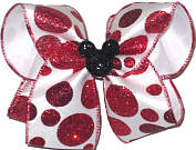 Large White with Red Glitter Dots and Glitter Mickey Miniature Double Layer Overlay Bow