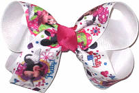 Medium Minnie Mouse Time to Get Pretty over White Double Layer Overlay Bow