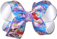 Medium All the Princesses over White Double Layer Overlay Bow