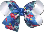 Medium Ariel and Flounder over White Double Layer Overlay Bow