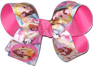 Medium Belle and Mrs Potts over Hot Pink Double Layer Overlay Bow